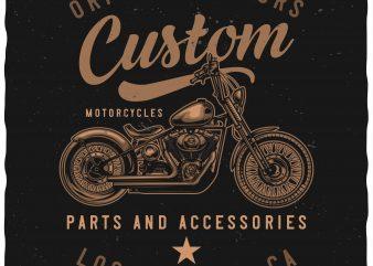 Custom motorcycles t shirt design for sale
