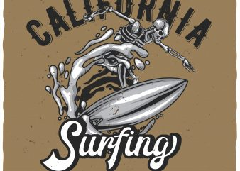 California surfing vector t-shirt design for commercial use