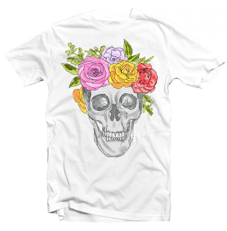 Skull and Roses t shirt designs for printful