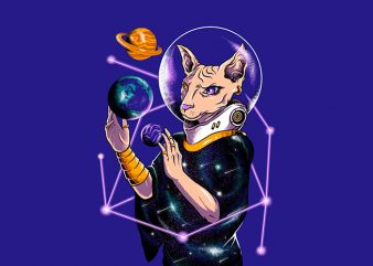 galacticat print ready t shirt design