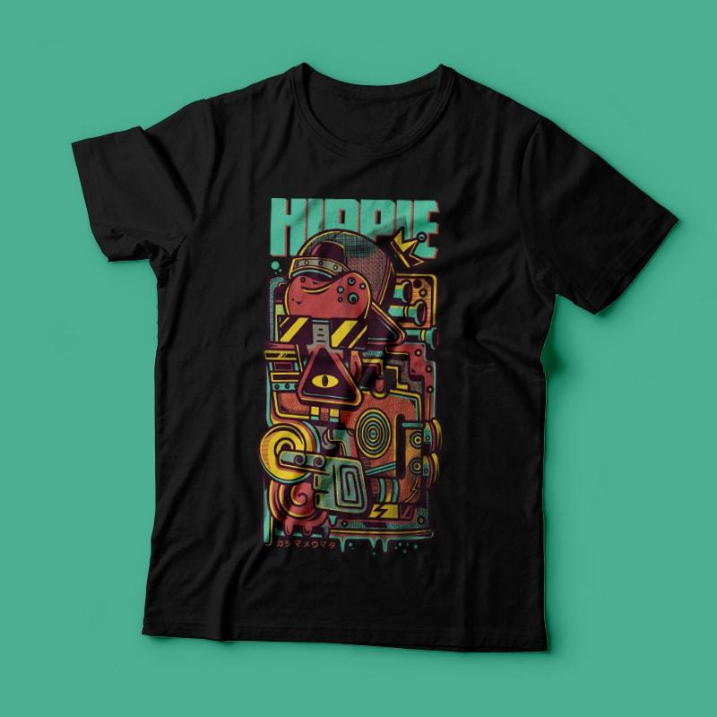 hippie motorcycle shirt design vector