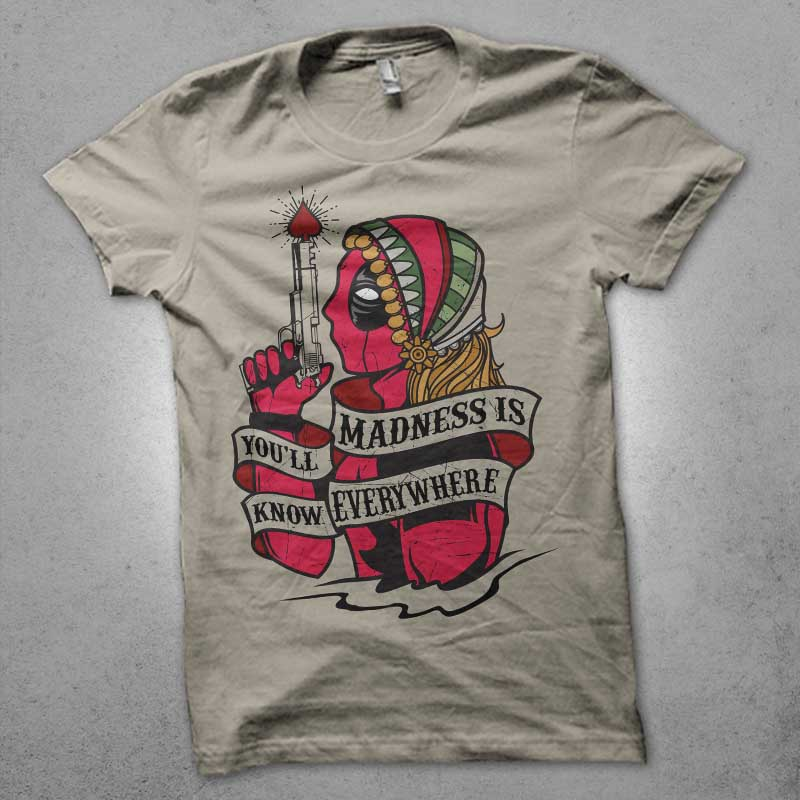 king of madness t shirt design png