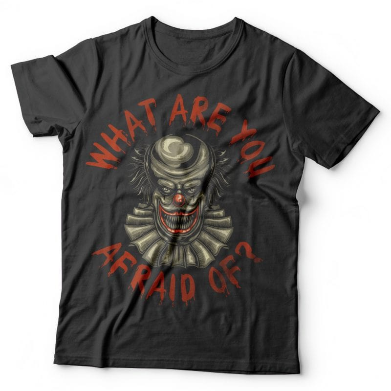 Scary clown t shirt designs for sale