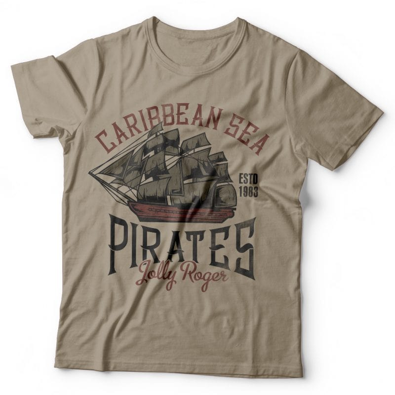 Caribbean pirates t shirt designs for merch teespring and printful