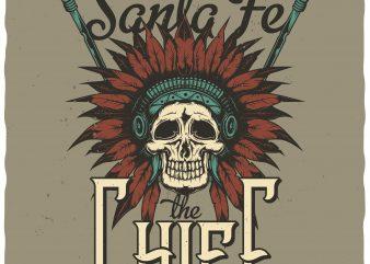 Santa Fe Chief t shirt template vector