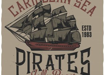 Caribbean pirates commercial use t-shirt design