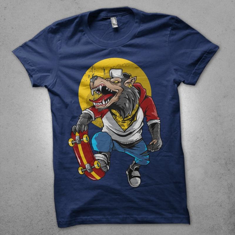 wolfie t shirt designs for print on demand