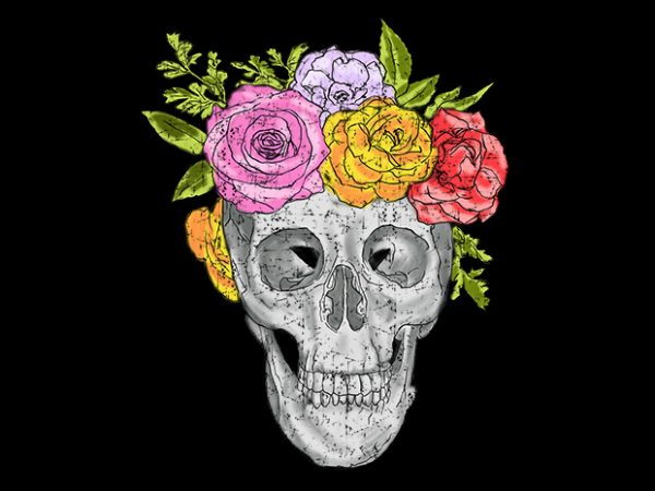 Skull and Roses t shirt design for purchase