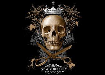 Skull Scsisor New York buy t shirt design artwork