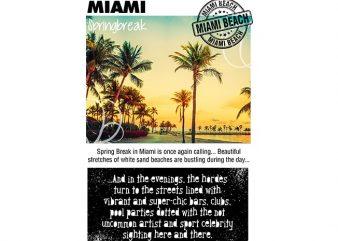 Miami Spring Break t shirt designs for sale