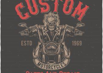 Custom motorcycles t shirt design png