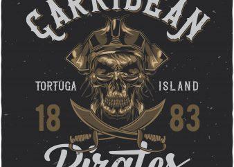 Caribbean pirates t shirt vector file