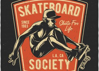 Skateboard print ready shirt design