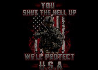 Shut The Hell Up Veteran Vector t-shirt design