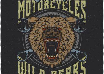 Wild bears motorcycles. Vector t-shirt design