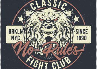Bears fight club t shirt design png