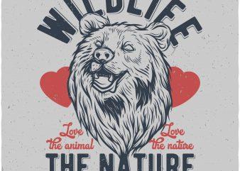 Bears wildlife. Vector t-shirt design