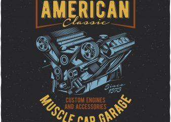 American muscle car garage t shirt vector