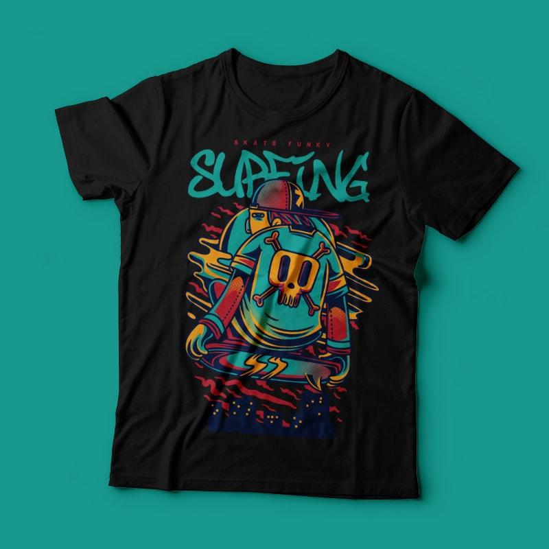 Surfing tshirt design for merch by amazon