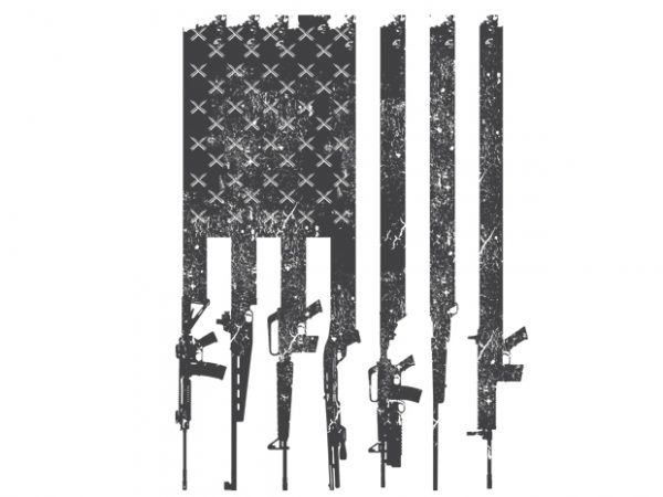 American flag rifles t shirt vector
