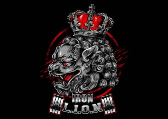iron lion t shirt design for sale