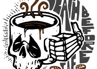 Death Before Decaf buy t shirt design for commercial use