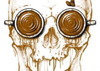 Skull Coffee t shirt design for download
