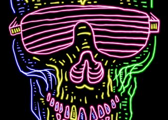 Skull Neon t shirt design for purchase