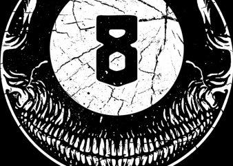 8ball Skull commercial use t-shirt design