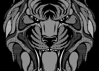 Tiger Zentangle t shirt design for purchase
