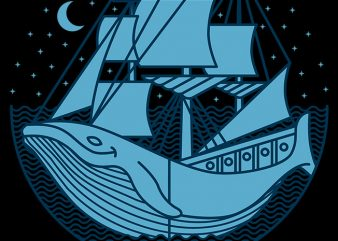 Whaleship vector t-shirt design for commercial use
