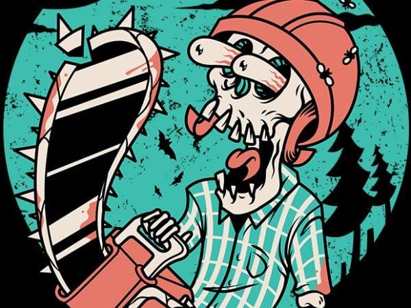 Skullchain Saw t shirt template vector