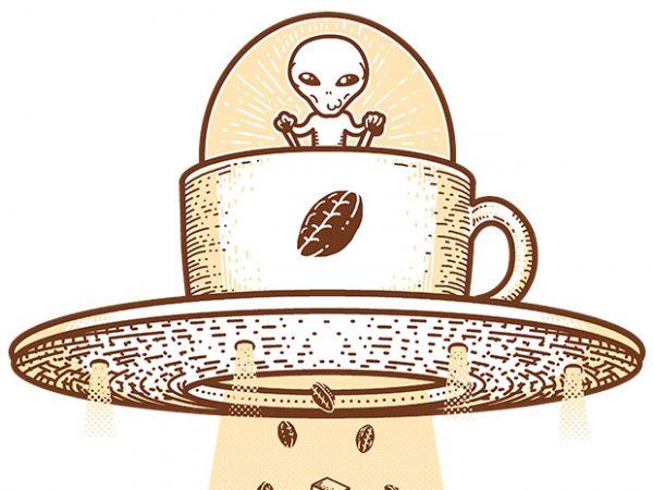 Alien Coffee Invasion t shirt design to buy