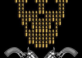Skull Bullets vector shirt design