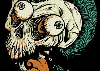 Skull Punk Style t shirt design for download
