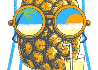 Pineapple Sunbathe buy t shirt design artwork