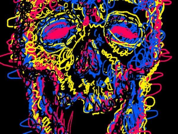 Skull Kid Draw t shirt template vector