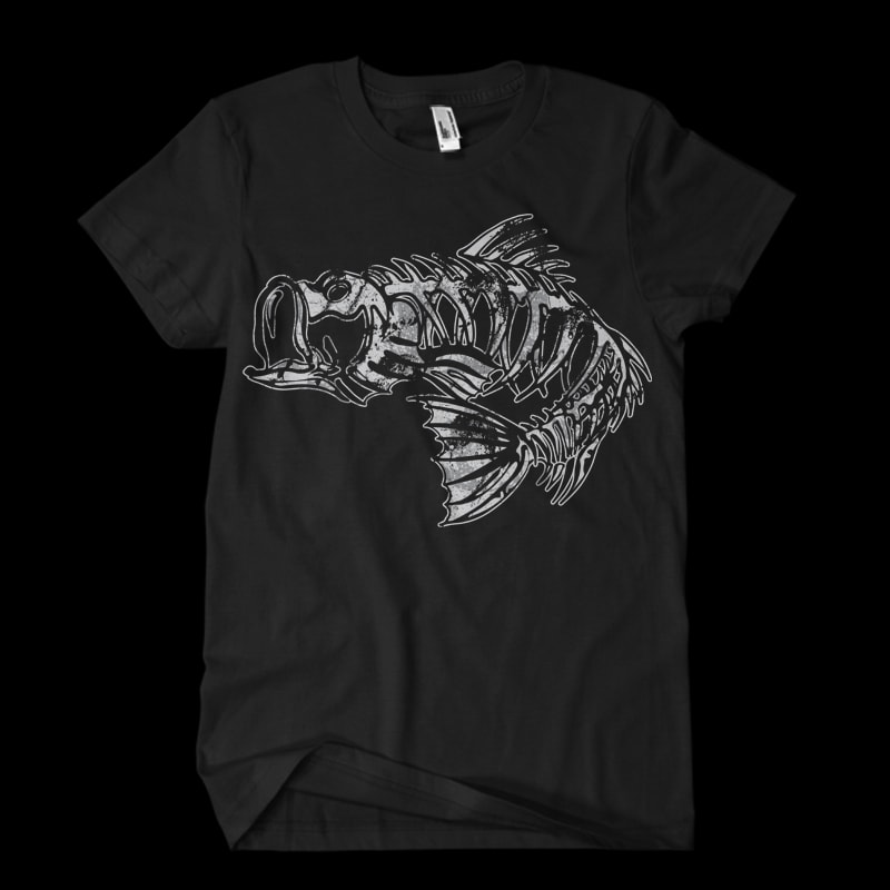 Bass skeleton t shirt design graphic