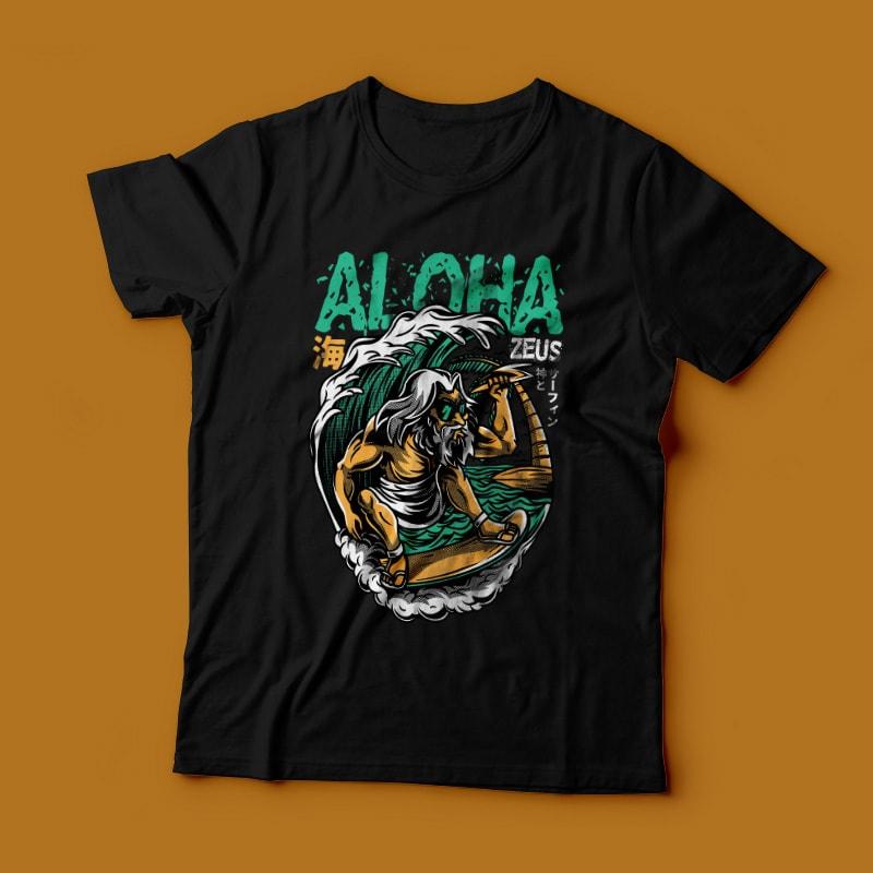 Aloha Zeus commercial use t shirt designs