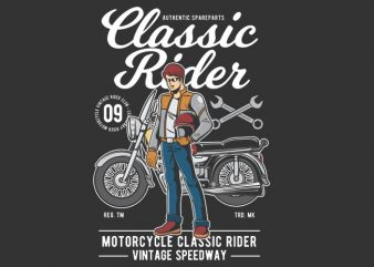 Classic Rider vector t shirt design for download