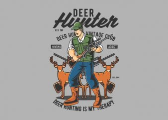 Deer Hunter vector t shirt design artwork