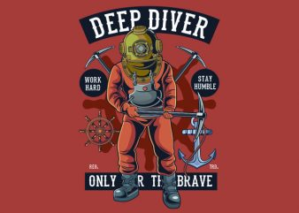 Diver t shirt vector illustration