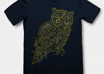 Electrical Owl Graphic tee design