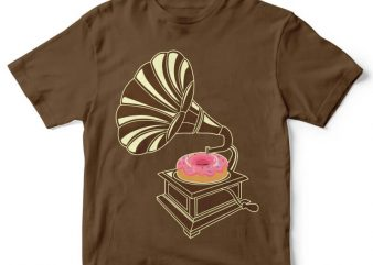Gramophone Donut tshirt design