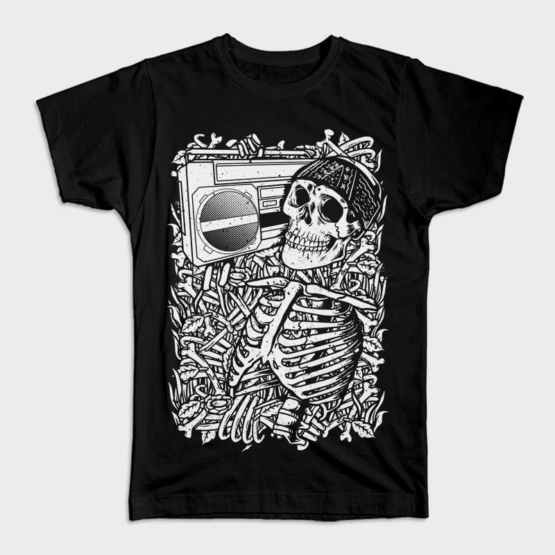 Boombox Skull t shirt designs for printify