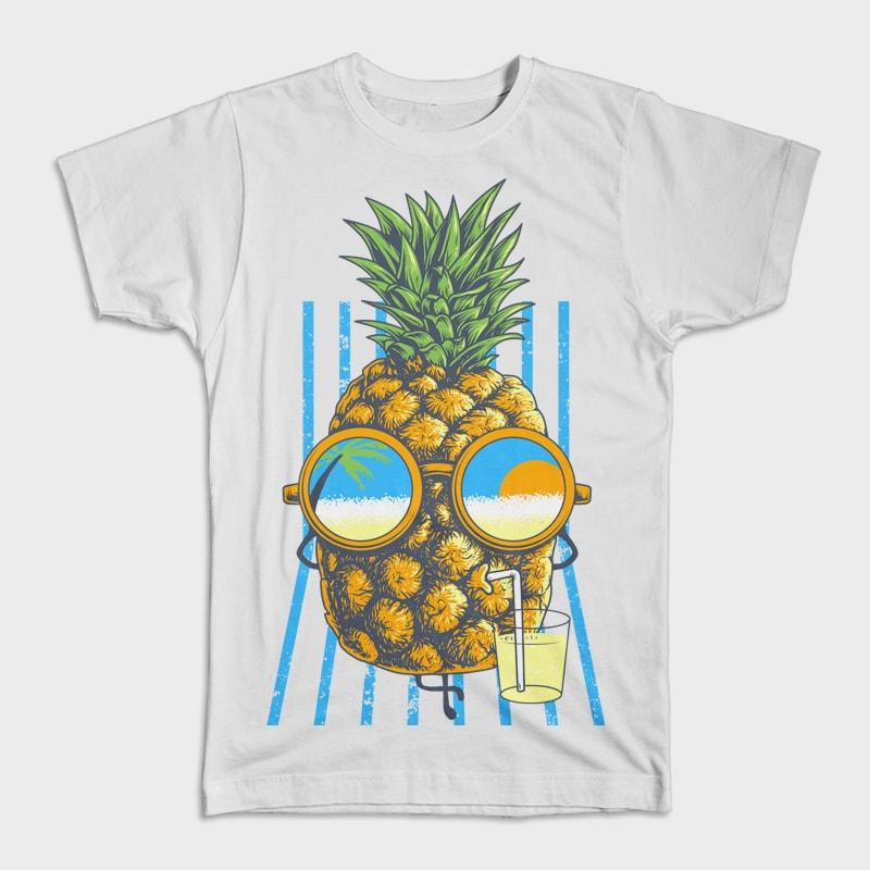 Pineapple Sunbathe tshirt designs for merch by amazon