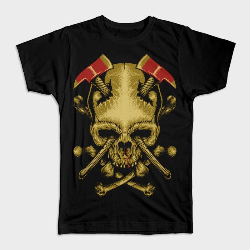 Skull Axe vector t shirt design