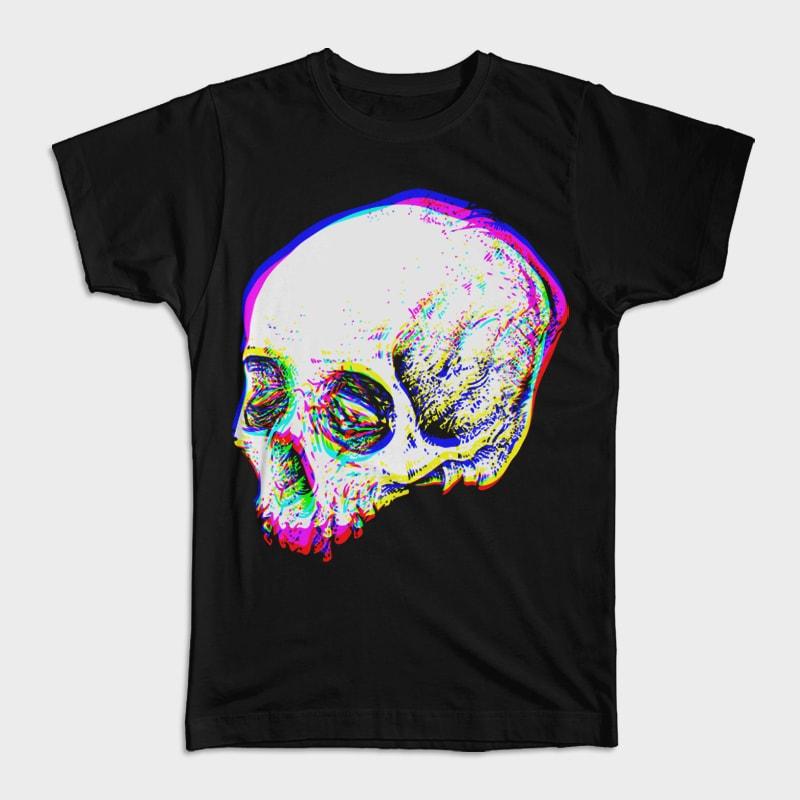 Skull Glitch vector t shirt design