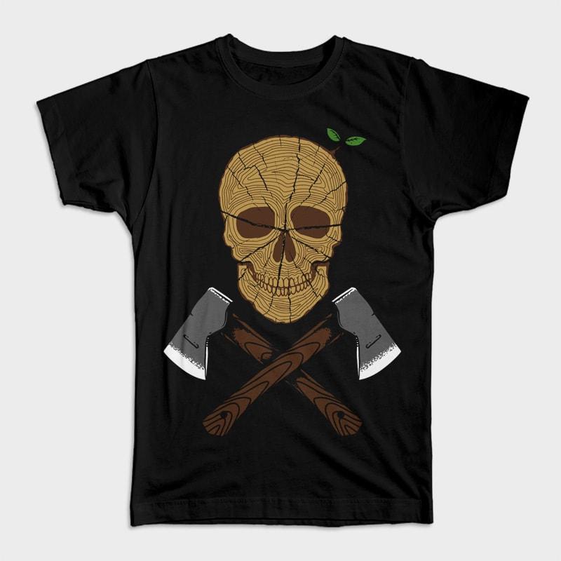 Skull Wood t shirt design png