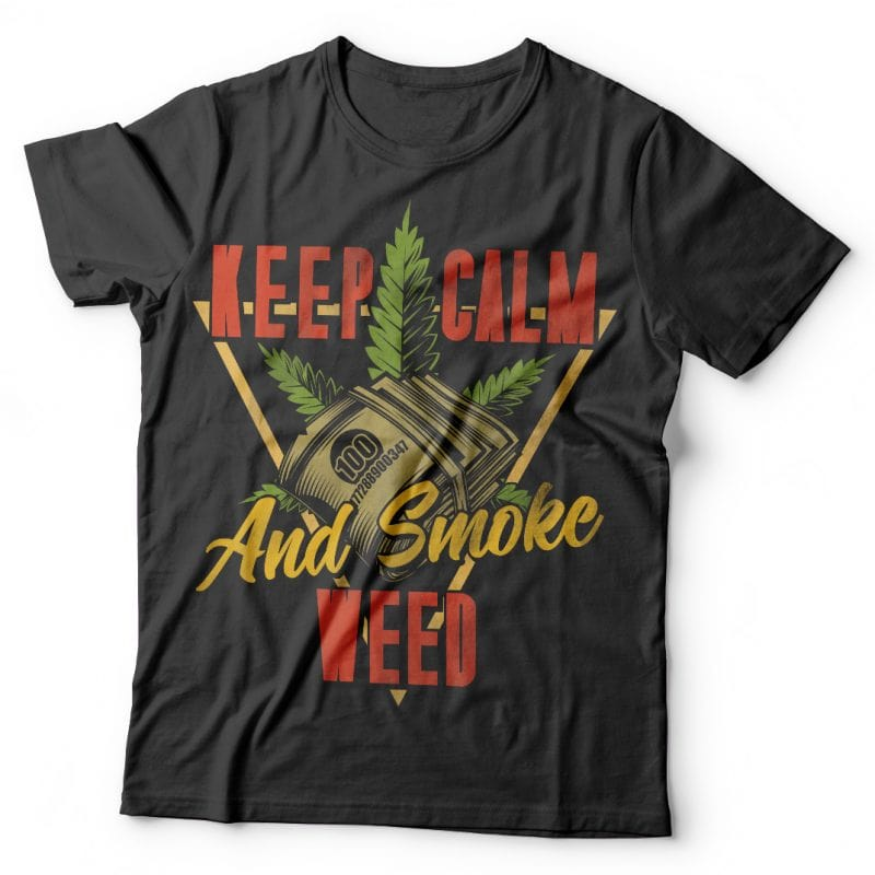 Keep calm and smoke weed. Vector t-shirt design tshirt design for merch by amazon